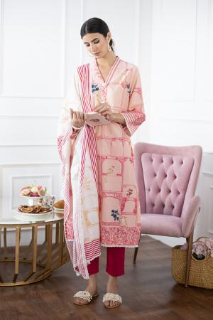 Pink Digital Printed Cotton Kurta Set