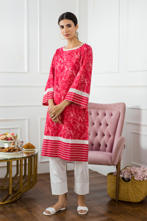 Pink Digital Printed Cotton kurta