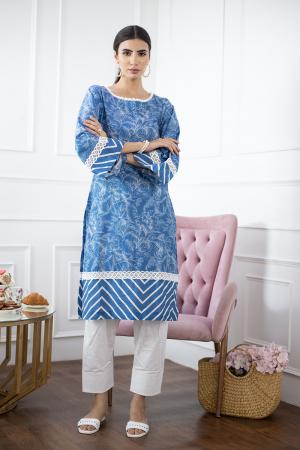 Blue Digital Printed Cotton kurta