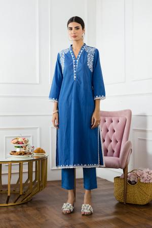 Blue Aari Hand Embroidery Kurta set