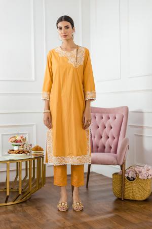Mango Aari Hand Embroidery Kurta set