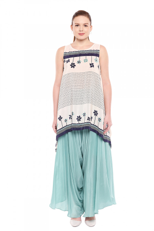 Printed cotton silk blue and white set