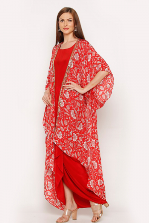 Printed cape set in red