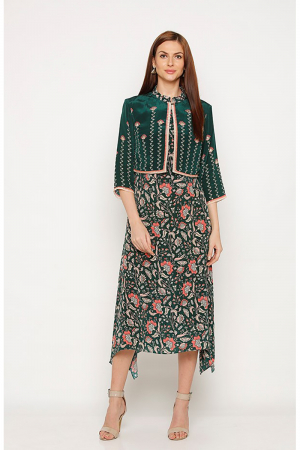 Handkerchief style dress with green and pink print