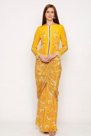 Sunshine yellow dress and jacket set