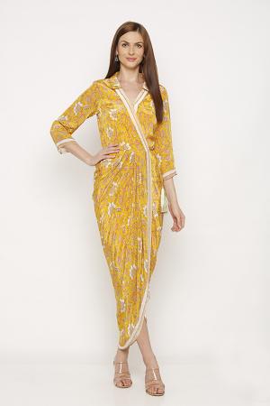 Draped sunshine yellow dress