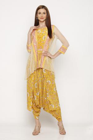 Sunshine yellow dhoti style set