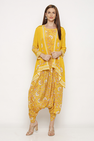 Sunshine yellow jacket and dhoti set