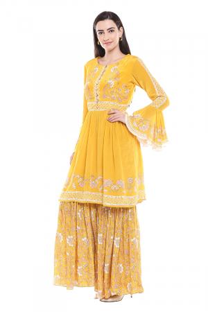 Sunshine yellow sharara set