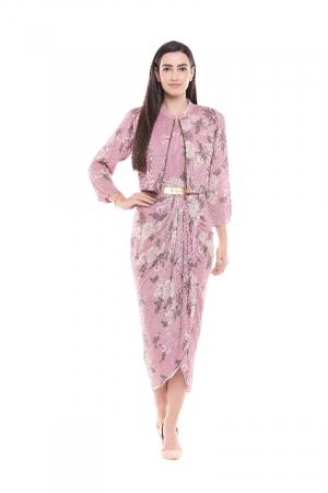 Assumetrical dress with pink jacket