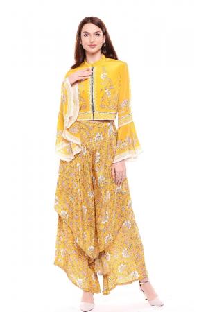 Jacket and yellow sunshine yellow printed set
