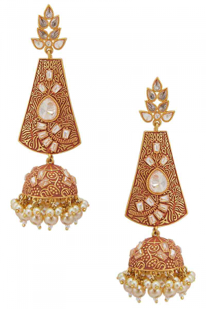 Hand painted earrings with gold plating.