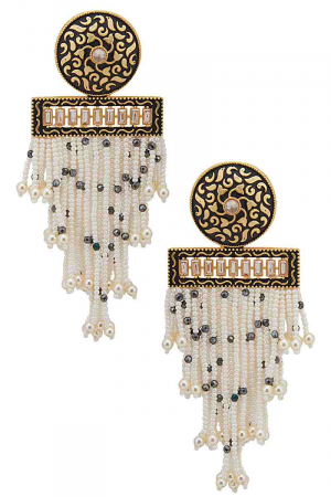 gold plated earrings with pearl tassels