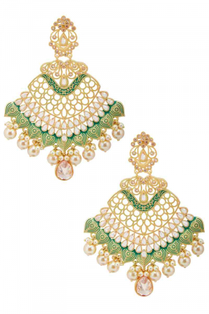 Gold plated chandbali earrings