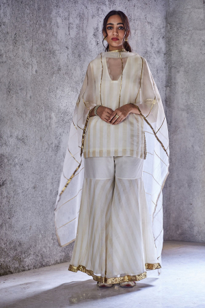 Ivory striped meera kurta and gharara set with dupatta