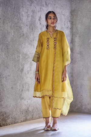 Mustard yellow jodha kurta set