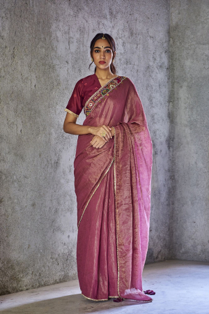 Purple shambhavi saree with bandhani print blouse pcs