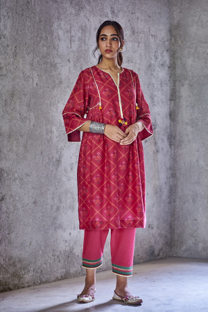 Pink pushp kurta set