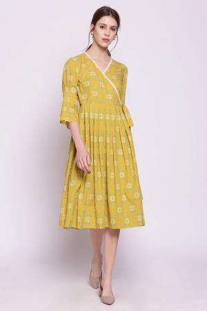 yellow mustard printed angrakha dress