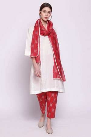 white cotton kali kurta with red cotton snowflake print pants and soft chanderi dupatta