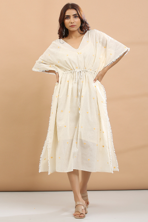 white and yellow heart Kaftan with sepreat slip