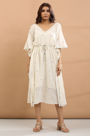 white and blue heart Kaftan with sepreat slip