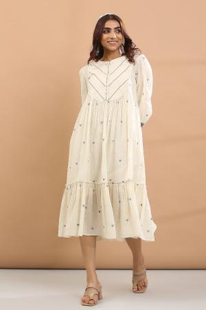 white and blue heart round yoke dress