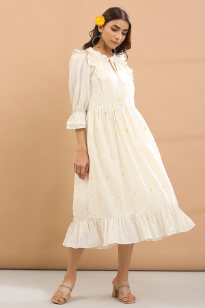 white and yellow heart Frill dress