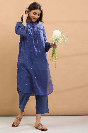 blue base with pink and white heart Kurta, pant with short slip