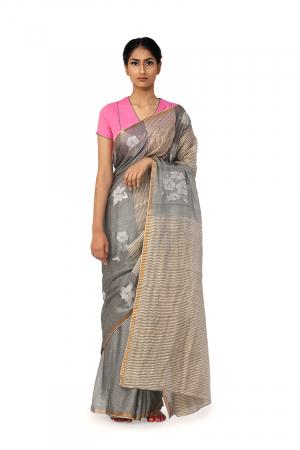 grey sada joba charcoal sari