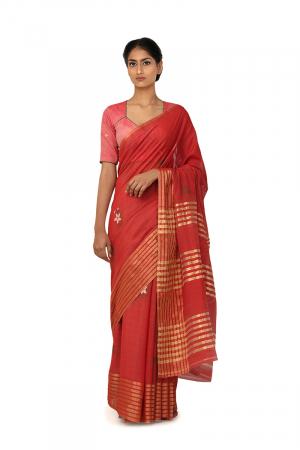 sindoor red zari border sari