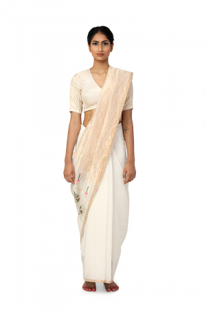 ivory podho phool-pata sari