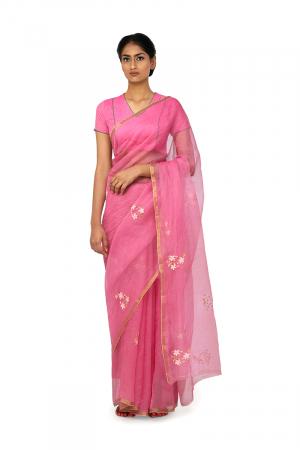 rani pink zari jui er tora sari