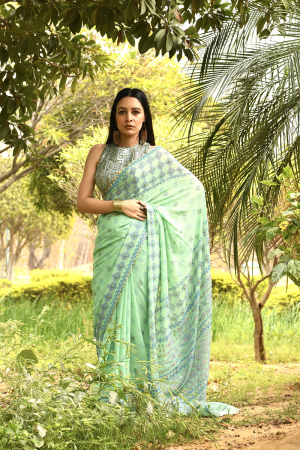 Green saree blouse
