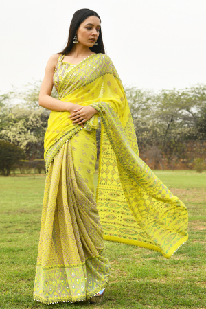 Yellow saree blouse