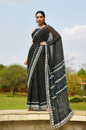 Black mirror saree set