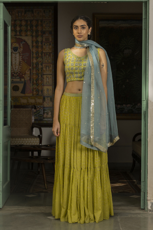 lime green zohra skirt set