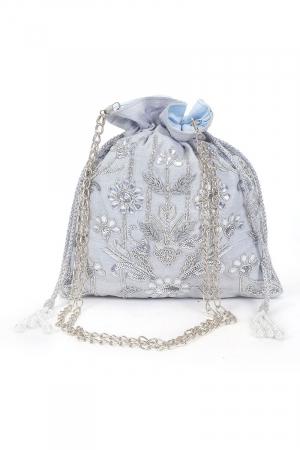 Silver embroidery potli