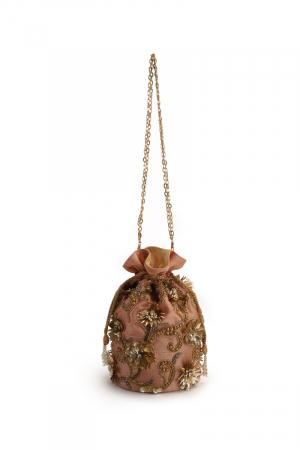Coral floral potli bag