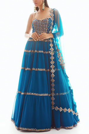 Blue embroidered  anarkali with dupatta