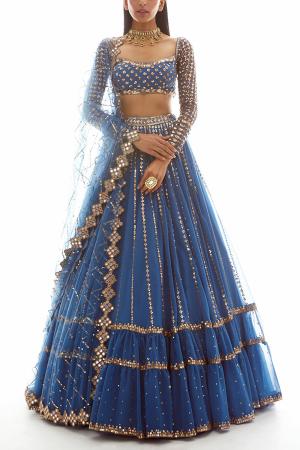 Blue embroidered lehenga set