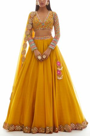 Yellow Embellished Organza Lehenga Set