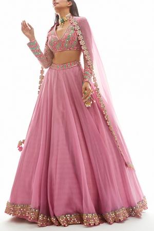 Pink Embellished Organza Lehenga Set