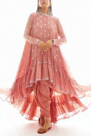 Rose Pink Kurta and Dhoti Pant Set