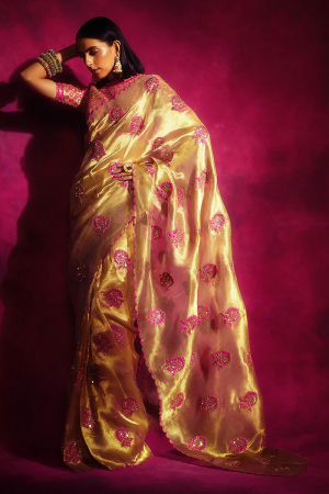 Gold Embroidered Saree with Blouse