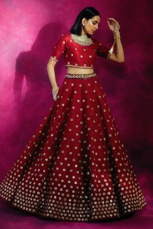 Red Embroidered Silk Lehenga Set