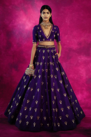 Purple Embroidered Silk Lehenga Set
