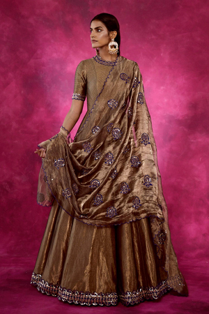 Brown Embroidered Anarkali with Dupatta