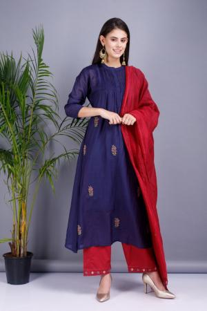 Voilet and red Chanderi cotton silk Kurta set