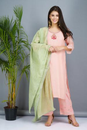 Pastel peach and mint green Chanderi cotton silk Kurta set